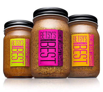 Jars of Betsy's Best Gourmet Nut and Seed Butters