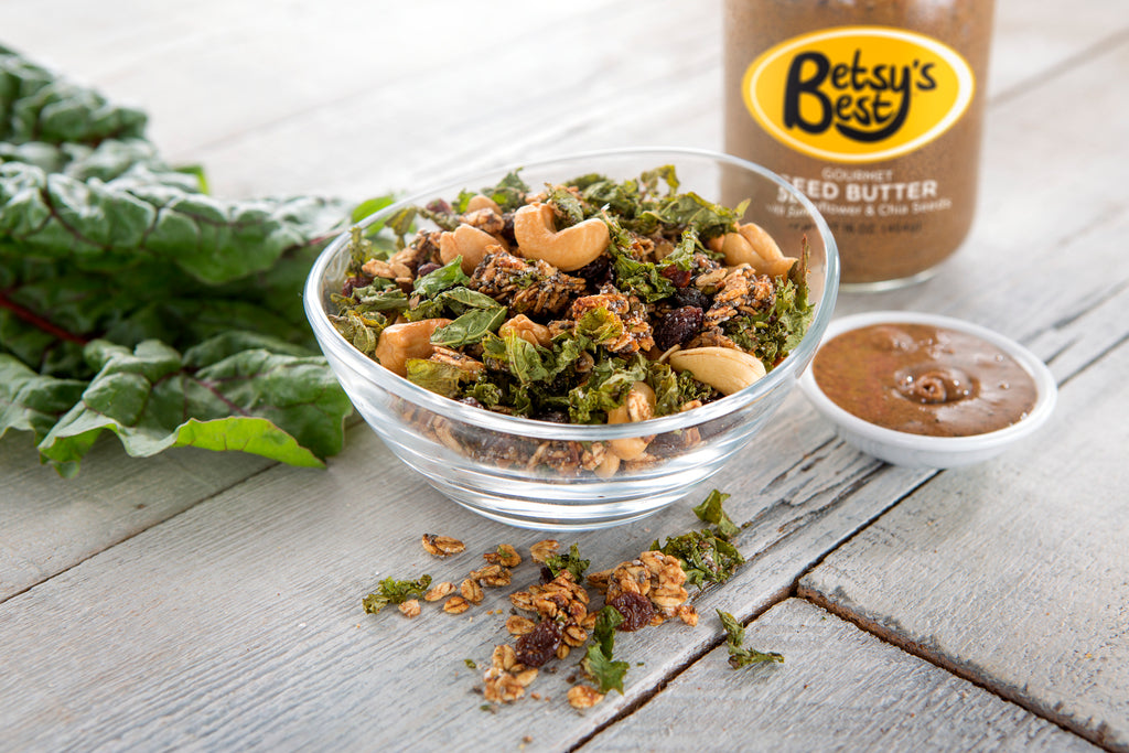 A delicious Kale recipe featuring Betsy's Best Gourmet Sunflower Seed Butters