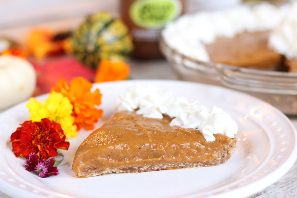 A no-bake pumpkin pie recipe with an almond butter infused ginger crust