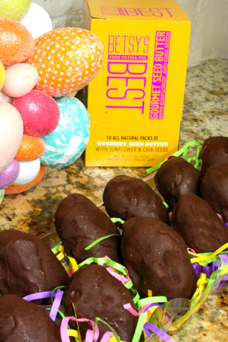 Homemade peanut butter Easter eggs covered in dark chocolate