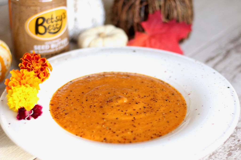 pumpkin curry soup with sunflower seed butter
