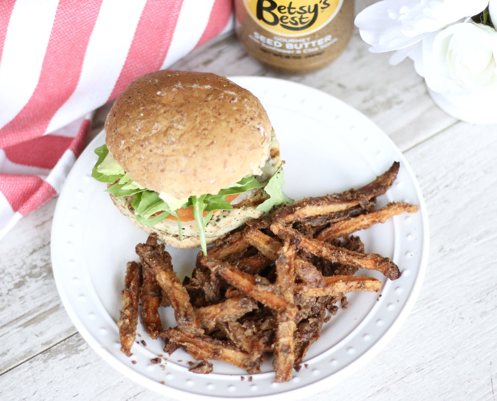 Sunflower seed butter coated sweet potato fries