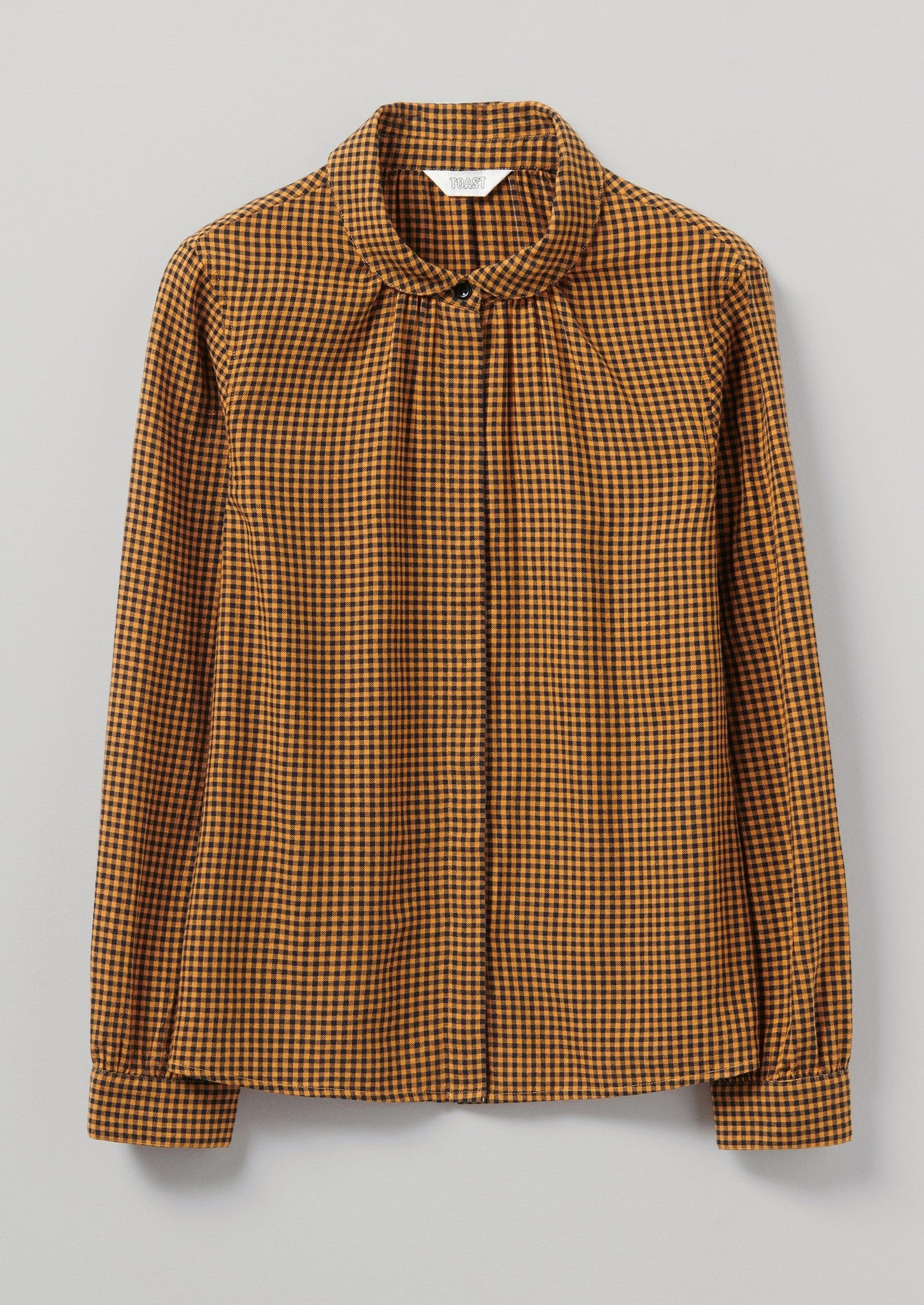 Anja Gingham Check Cotton Shirt | Slate/Washed Apricot ?id=16692155285538