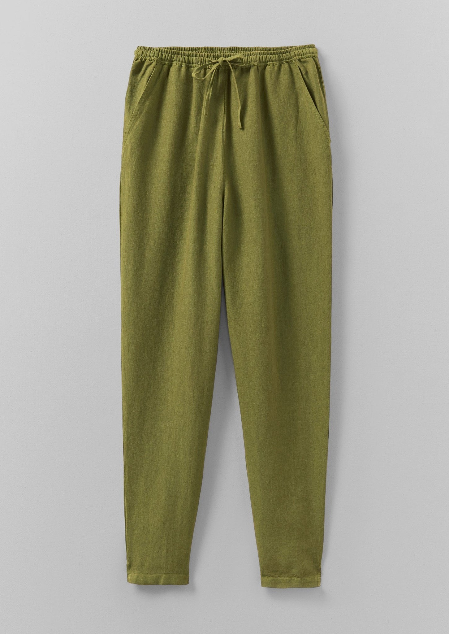 Garment Dyed Linen Pull On Trousers | Elm Green ?id=16768498663458