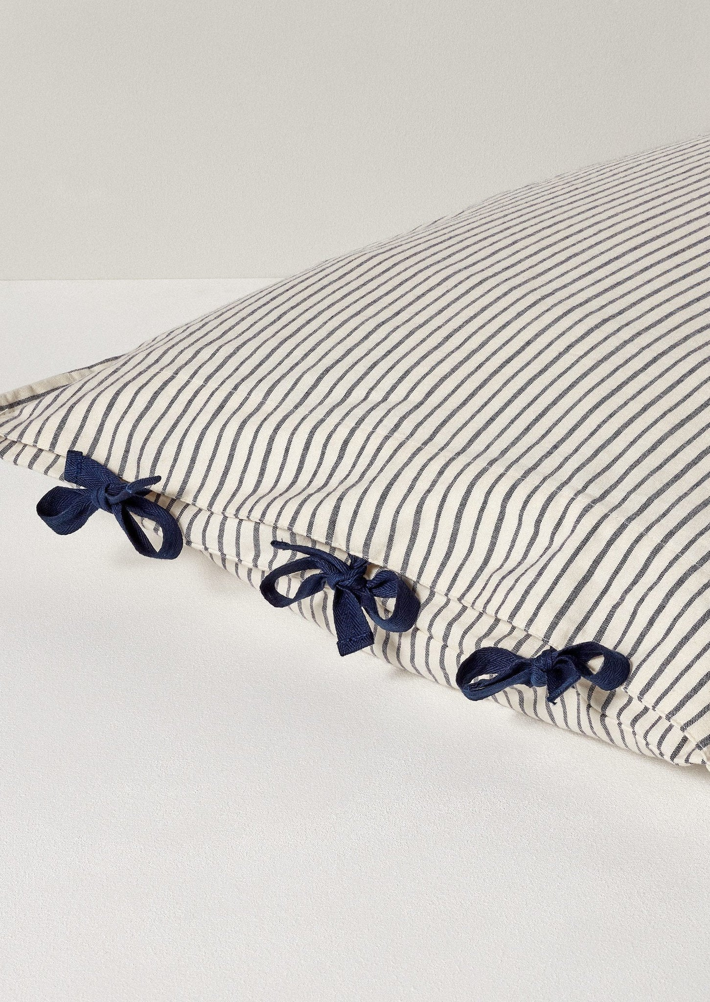 Organic Cotton Pyjama Stripe Housewife Pillowcase | Navy/Ecru ?id=16768507510818