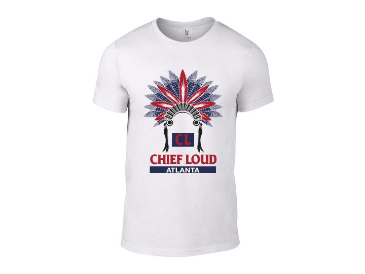 CHIEF LOUD ATLANTA CL FLAG 50/50 Short Sleeve White Tee - Chief Loud