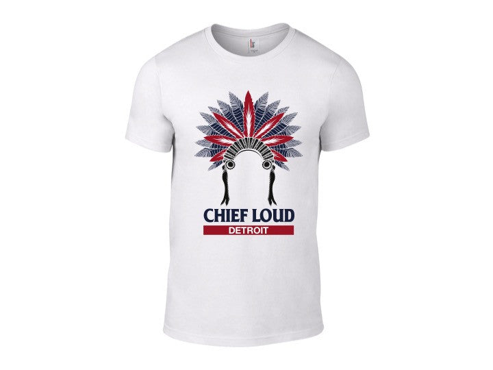 CHIEF LOUD DETROIT 50/50 Short Sleeve White Tee - Chief Loud