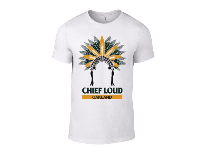 CHIEF LOUD OAKLAND 50/50 Short Sleeve White Tee - Chief Loud
