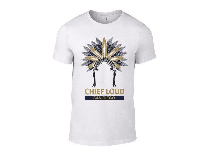 CHIEF LOUD SAN DIEGO BLUE AND GOLD LOGO 50/50 Short Sleeve Tee - Chief Loud