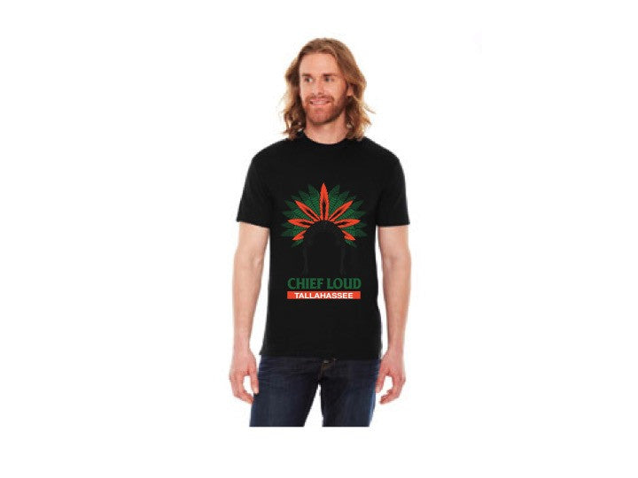 CHIEF LOUD TALLAHASSEE GREEN AND ORANGE 50/50 Short Sleeve Tee - Chief Loud