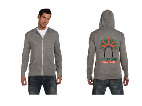 CHIEF LOUD TALLAHASSEE GREEN AND ORANGE Long-Sleeve Zip Hoodie - Chief Loud