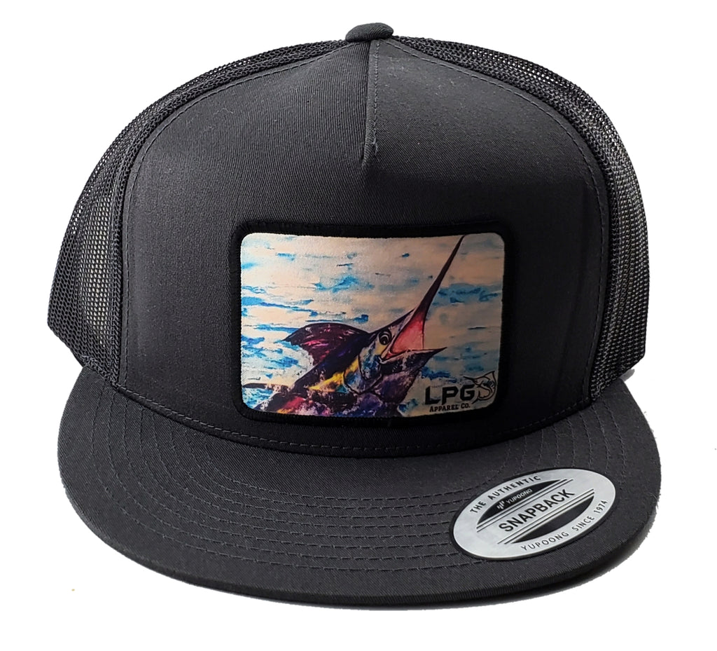 LPG Apparel Co. Isabel Paula Blue Marlin Bill Buster Classic Snapback Flat Brim Trucker Fishing Hat, Offshore Fishing Hat, Big Game Fishing Hat, Lobo Lures Hat, MArlin Hat, Marlins Hat, Blue Marlin Hat Dorado Hat, Fishing Baseball Hat, Fishing Baseball Cap