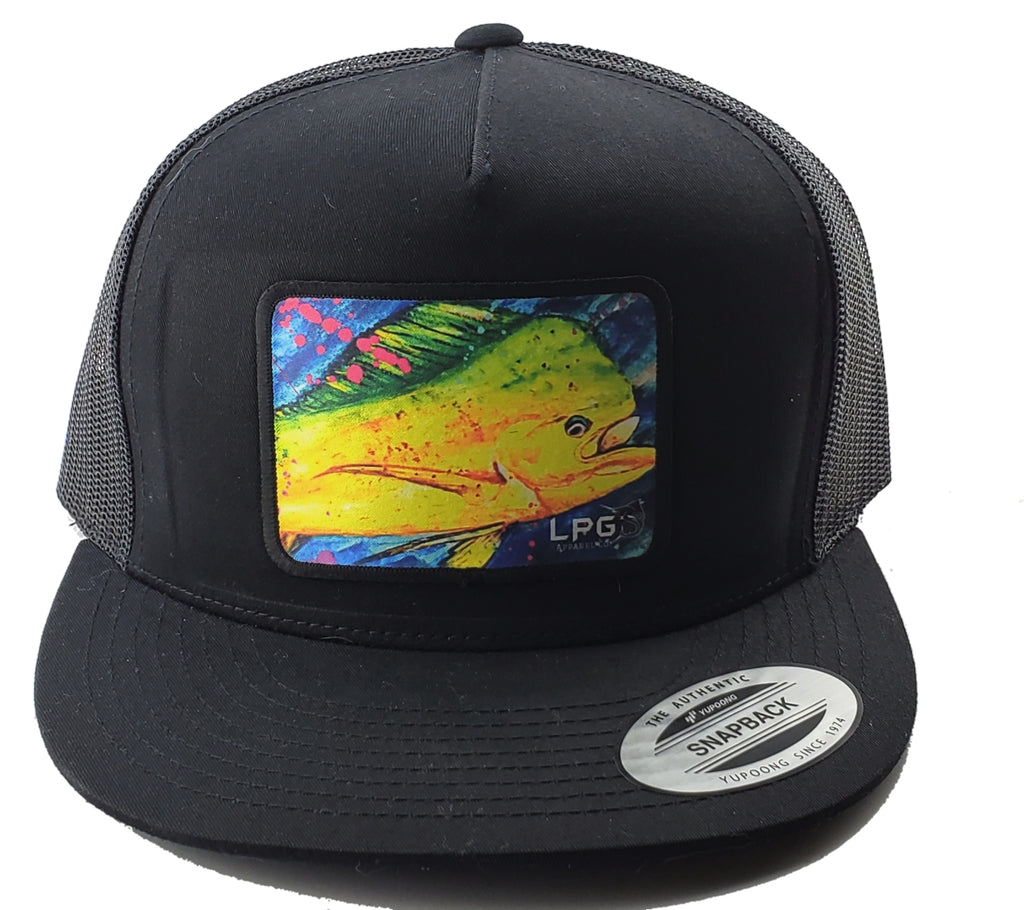 LPG Apparel Co. Mahi Vibes Splatter Classic Snapback Flat Brim Trucker Fishing Hat, Offshore Fishing Hat, Big Game Fishing Hat, Lobo Lures Hat, Mahi-mahi Hat, Dorado Hat, Fishing Baseball Hat, Fishing Baseball Cap