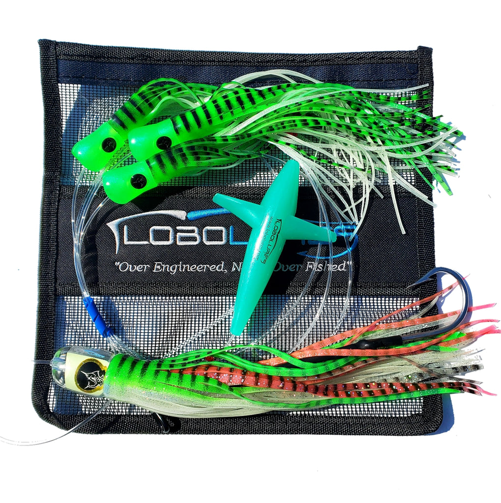 Lobo Lures #200_GL Super Glow Bigeye Pelagic Magic Big Game Fishing Daisy Chain Glow in the Dark Lure, Glow in the Dark Trolling Lure Made in the USA