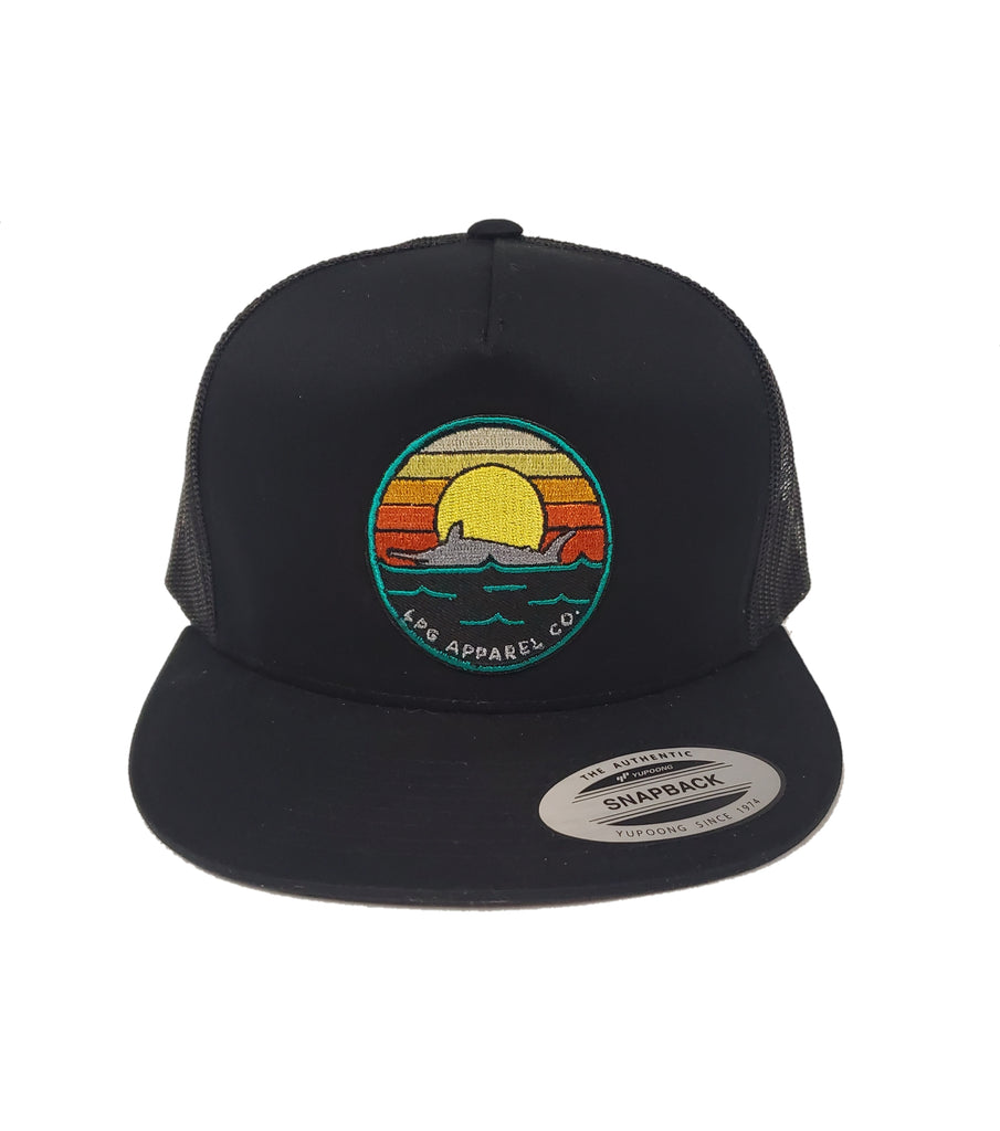 LPG Apparel Co. Retro Marlin Sunset Snapback Flat Brim Trucker Hat Fishing Hat, Lobo Lures Hat, Marlin Hat, Fishing Flat Brim Hat Lobo Lures Hat, Rasta Hat