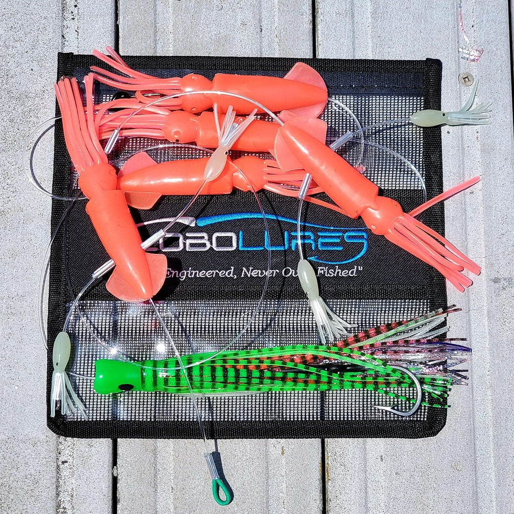 "Lobo Lures #240 Super Glow Skipjack Hybird Gamefish 7"" Flippy Floppy Daisy Chain! Tuna fishing lure, tuna daisy chain, tuna lures, glow lure, glow lures, big game lures"