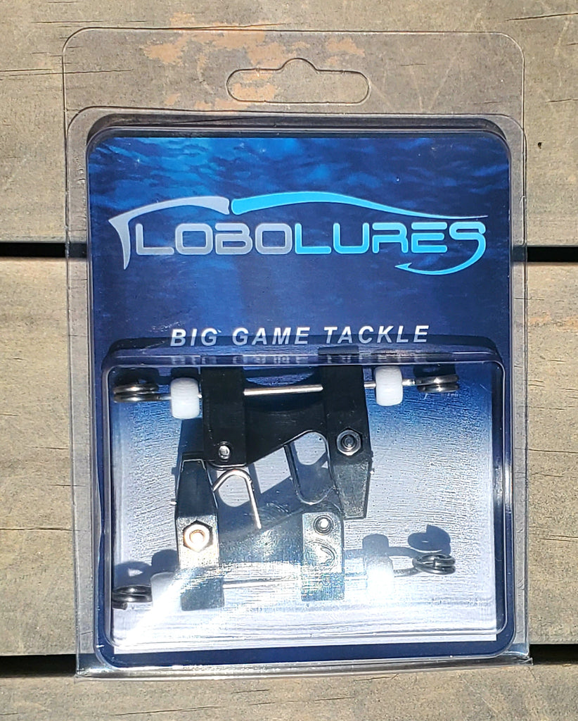 Lobo Lures Release outrigger Clips these are thru-wire outrigger clips downrigger clip, flat-line clip, kite fishing kite clip