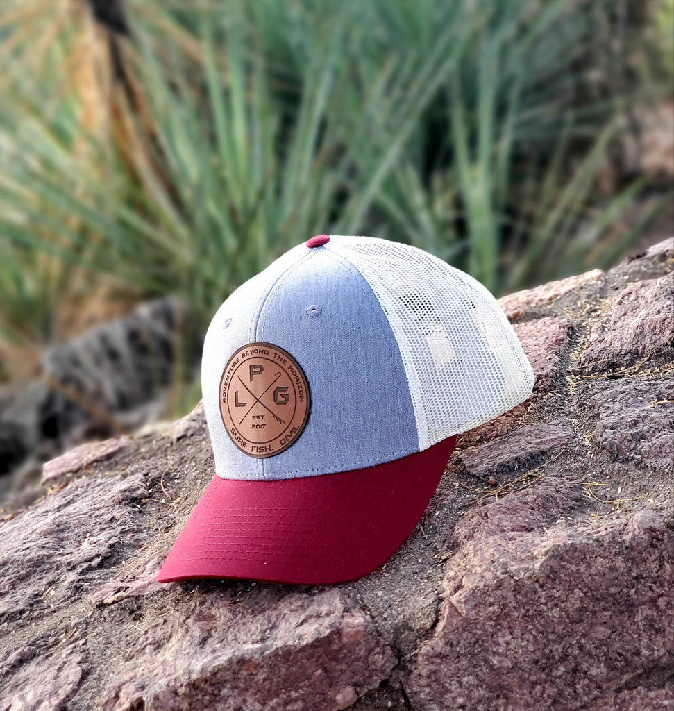 LPG Apparel Co. Crossed Gaff & Surfboard 115 Heather Grey/ White / Crimson Snap Back Trucker Baseball Hat, Crimson Tide hat, Crimson Hat, Surfing hat, Richardson 115, 115 Hat, Fishing Baseball Cap, Surf Baseball Cap, Diving Hat