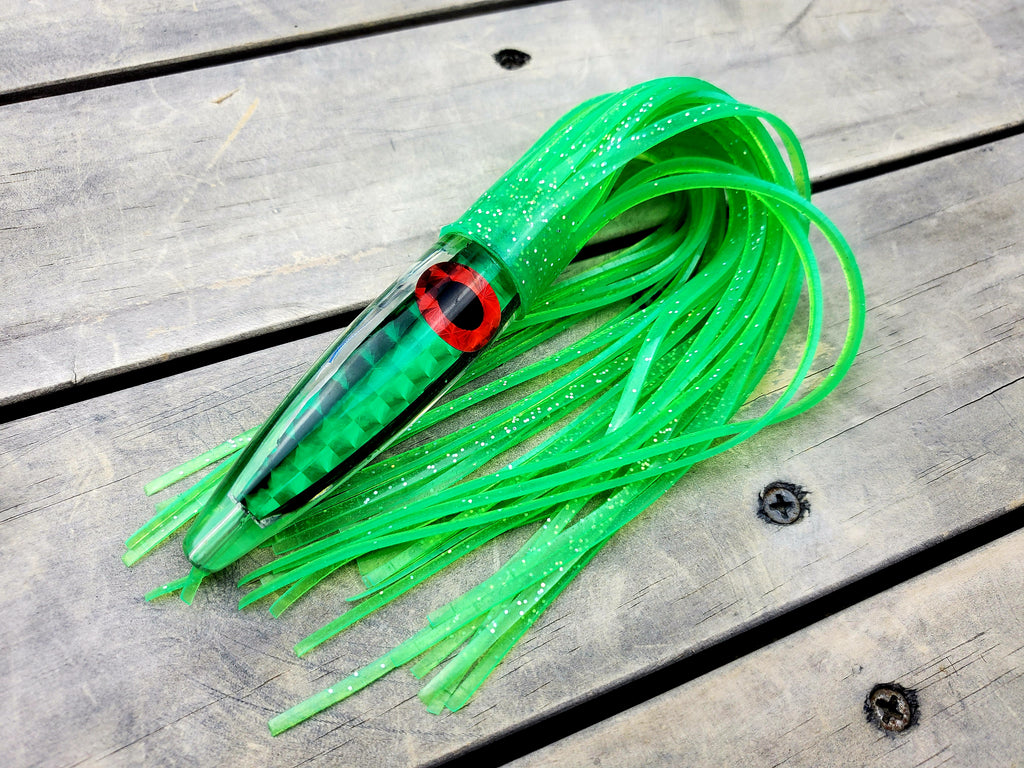 "Lobo Lures #32 Green Machine Bullet 12"" Trolling Lure Tuna lures,tuna Tackle, Trolling Lures"