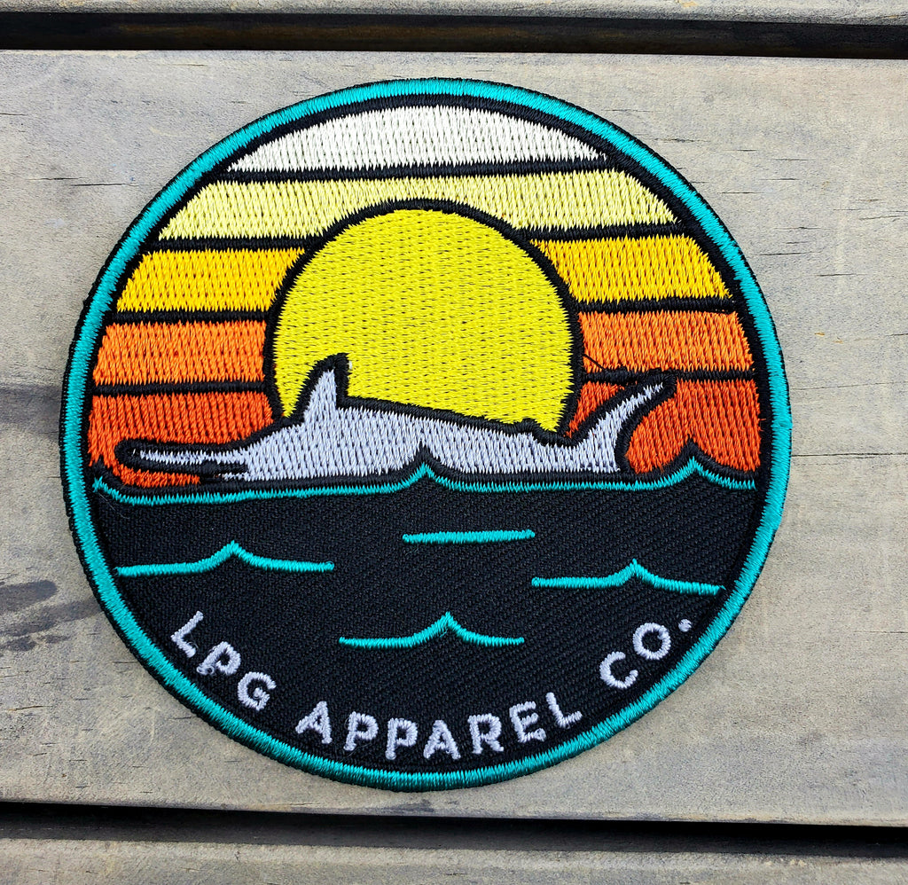 "LPG Apparel Co. Retro Marlin Round Logo 3.25"" Iron-on Fishing Patch"