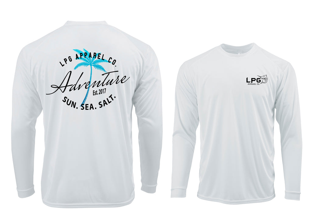 LPG Apparel Co. Adventure Palm Tree Surf LS Performance UPF 50 Unisex Shirt