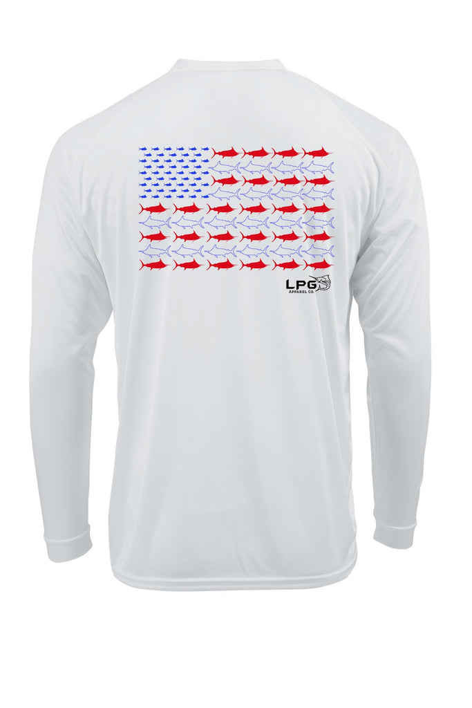LPG Apparel Co. Americano Patriotic Offshore Series Long Sleeve Performance UPF 50+ T-Shirt, Offshore Fishing T-Shirt, Patriotic Fishing Tee, Patriotic Fishing t-shirt, Patriotic Tee, Big Game Fishign T-Shirt, Tuna T-Shirt, Tuna Tee, Marlin Tee, Marlin T-Shirt, Tournament Fishing t-shirt
