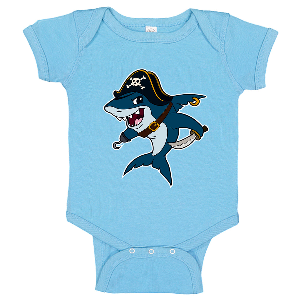LPG Apparel Co. Cartoon Pirate Shark Baby One-Piece  Bodysuit Baby Shark Onesies, Baby Shark Onesie, Pirate onesie, Baby Fishing T-Shirt, Baby Boy Onesie Toddler fishing onesie