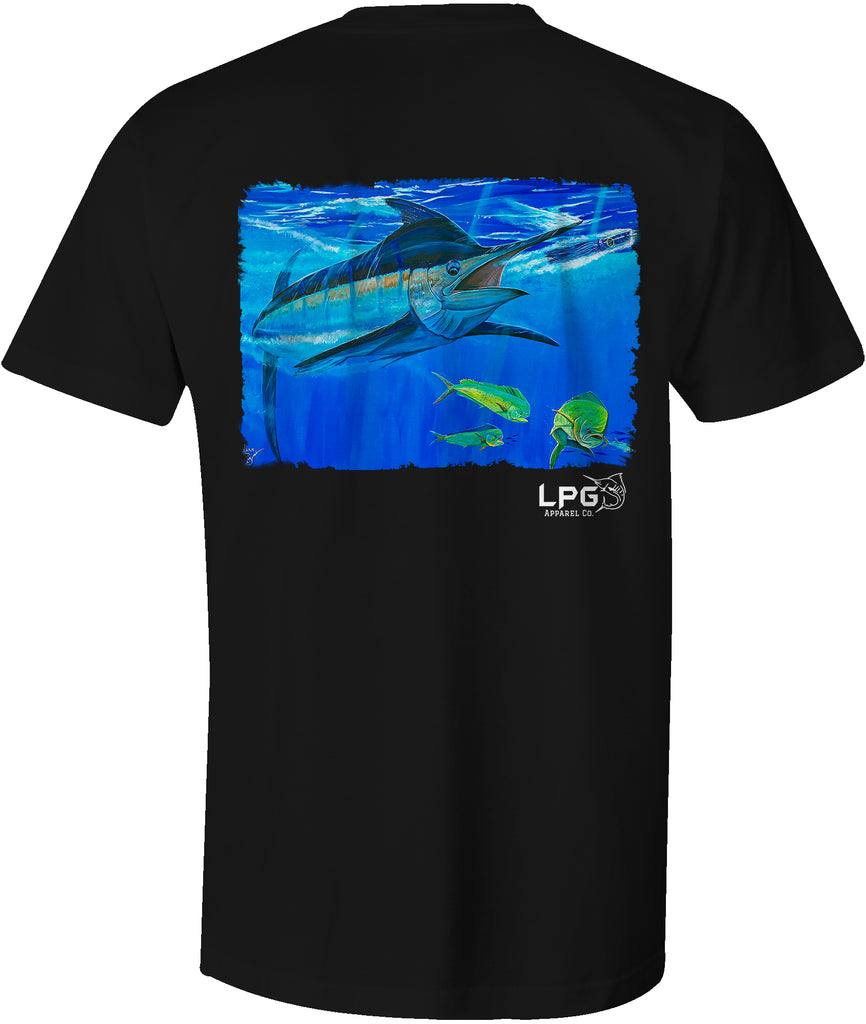 Lobo Lures - LPG Apparel Co. Blue Marline Bill Buster by Mark Ray T-Shirt - LPG APPAREL CO - T-Shirt Fishing T-Shirt, Big Game Fishing T-Shirt