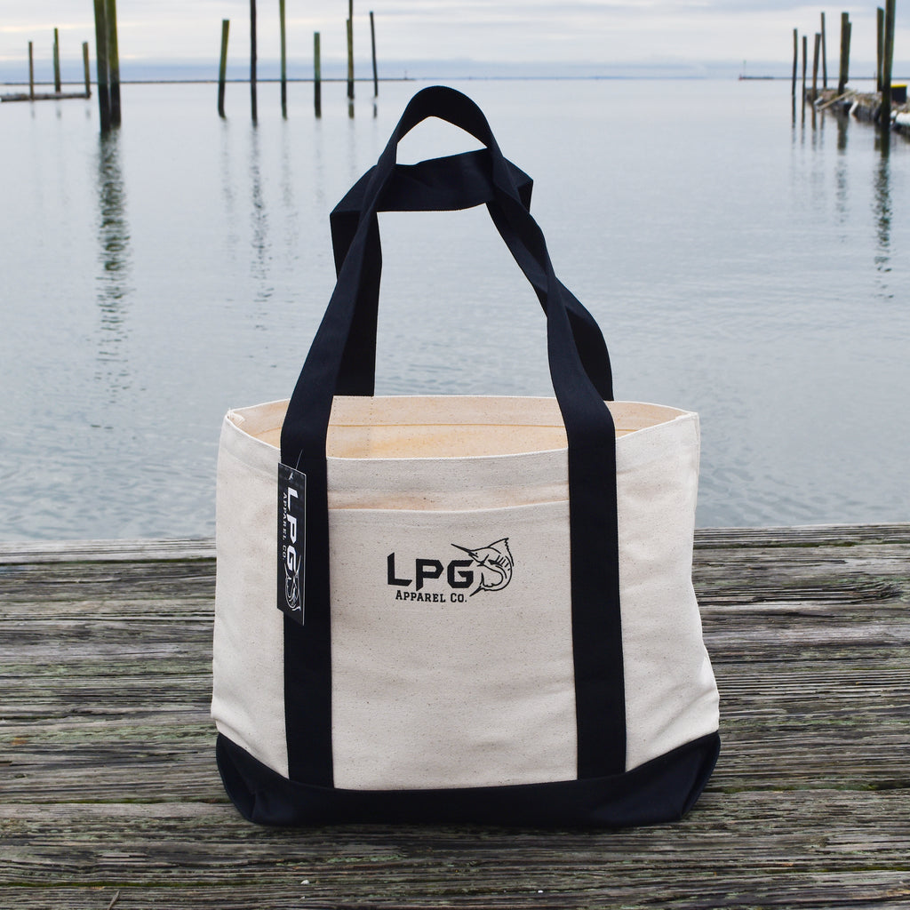 LPG Apparel Co. Heavy Duty Cotton Canvas Boat Tote Bag, Preppy Tote, School Tote, Work Tote, Doctor Bag, Nurse Tote, Reusable Tote Bag, Reusable Shopping Bag Black