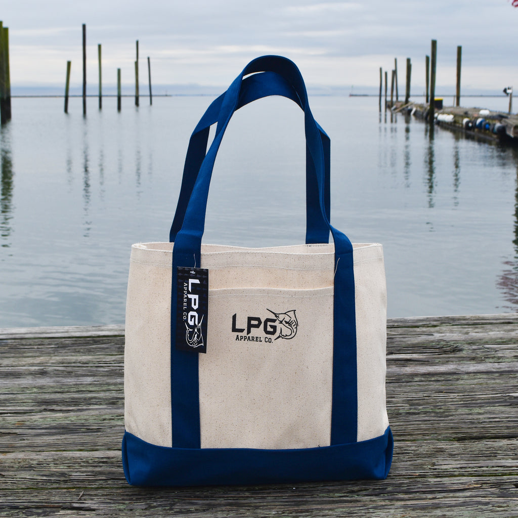 LPG Apparel Co. Heavy Duty Cotton Canvas Boat Tote Bag, Preppy Tote, School Tote, Work Tote, Doctor Bag, Nurse Tote, Reusable Tote Bag, Reusable Shopping Bag Navy