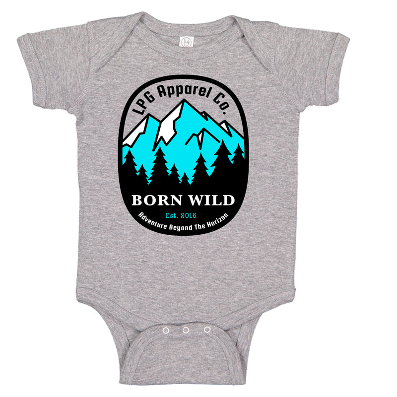 LPG Apparel Co. Born Wild Mountineer Baby One-piece Romper