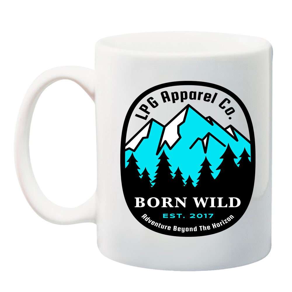 LPG Apparel Co. Born Wild 11 oz. Ceramic Coffee Mug Camping Mug, Mountaineer, Coffee Mug