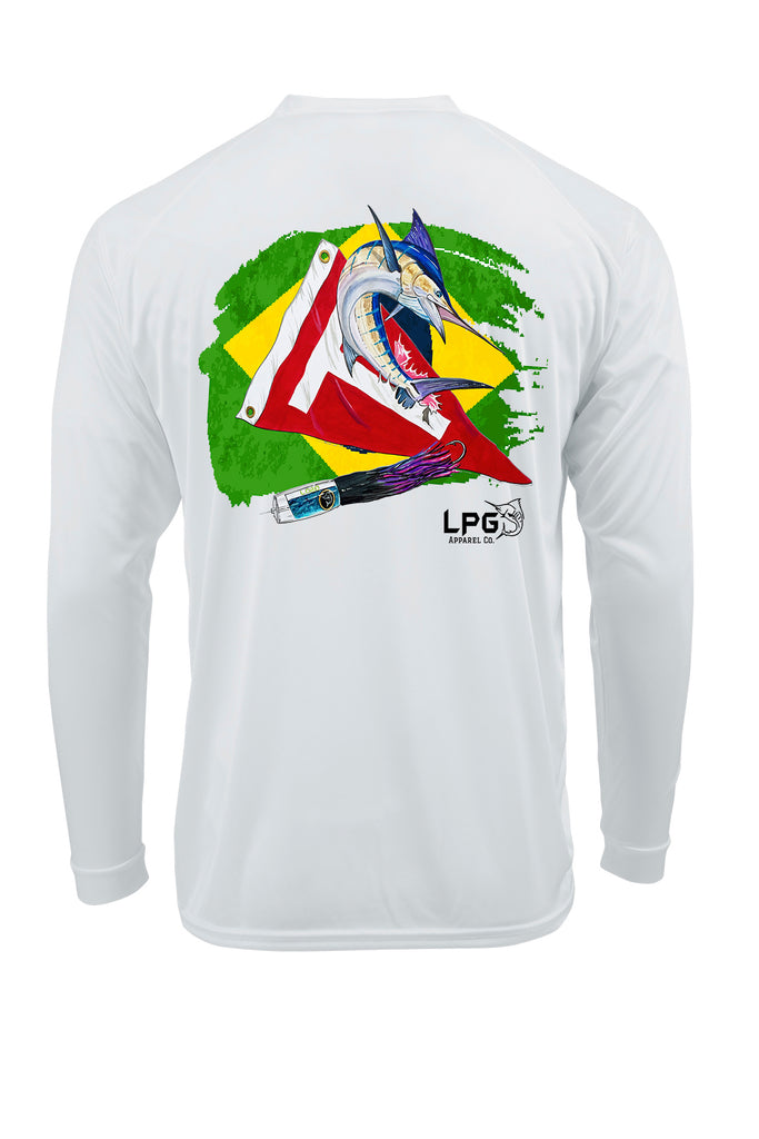 LPG Apparel Co® Tag & Release Brasil Brazil Flag Edition Long Sleeve Performance UPF 50+ T-Shirt, American T-Shirt, Fishing Tee, Fishing T-Shirt, Fourth of July T-shirt, MERICA T-shirt, Fishing Tee, Brazil Fishing, Pescar Camisa,