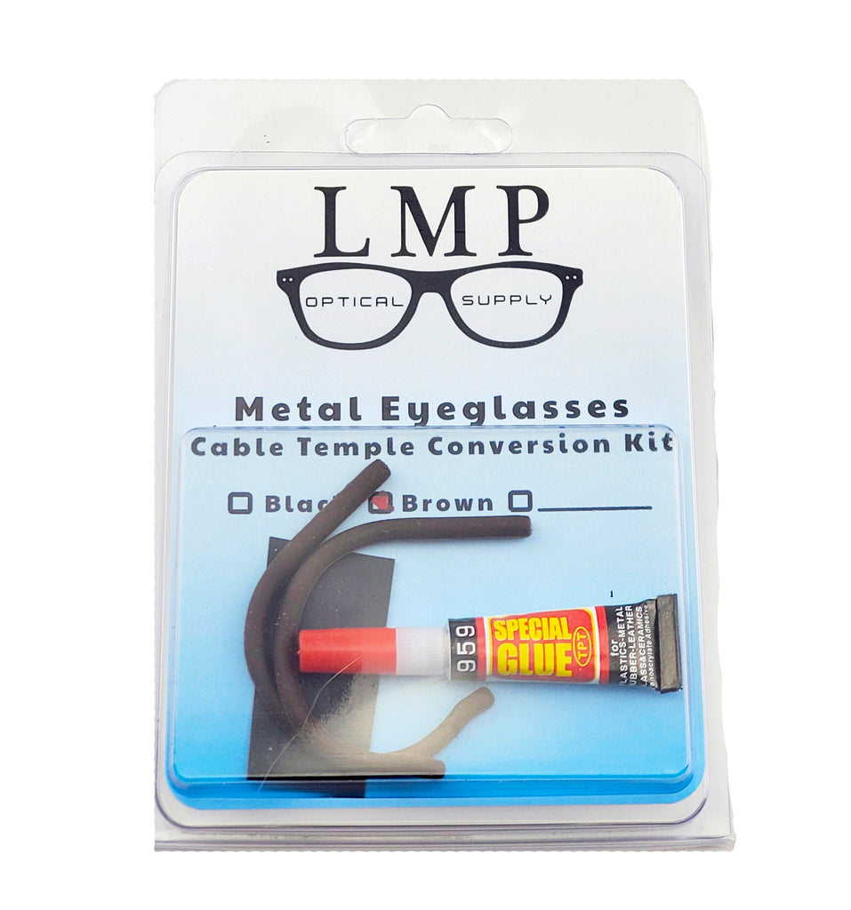LMP Optical Supply 1.3mm Cable Temple Conversion Kit Available in 2 Colors Cable temple Conversion Kit for eyeglasses and sunglasses.