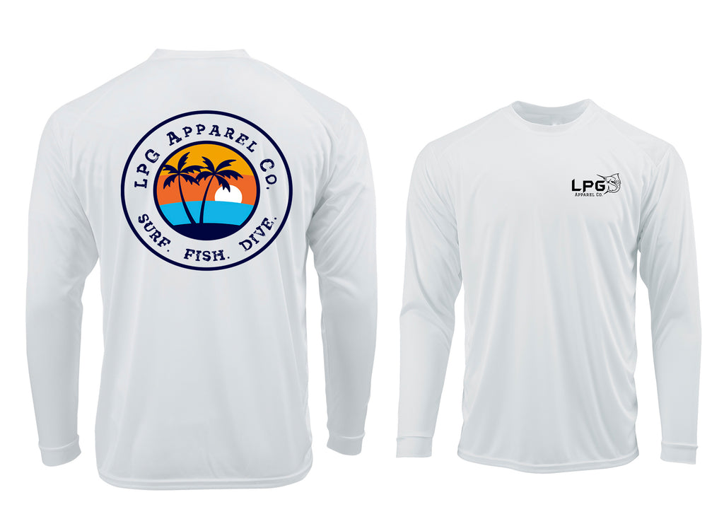 LPG Apparel Co. Florida Vibes Surf. Fish. Dive.  LS Performance UPF 50 Unisex Shirt