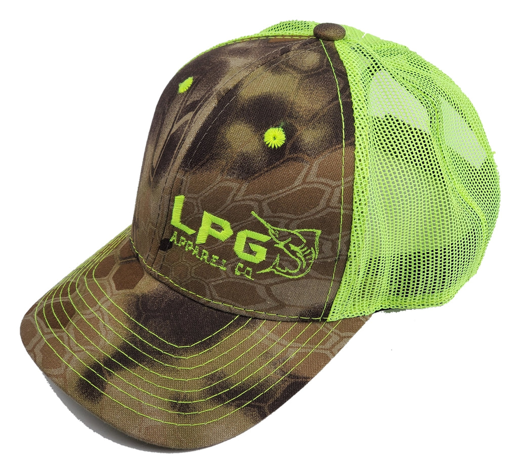 LPG Apparel Co.  Signature Embroidered Camo Kryptek Trucker Hat