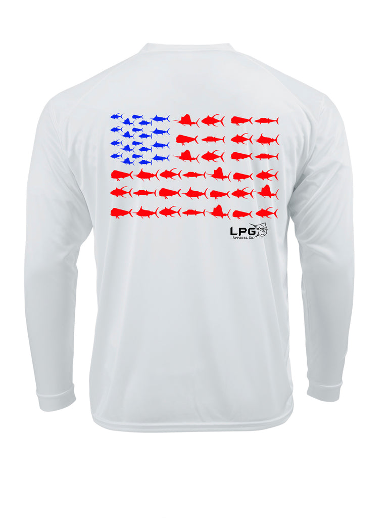 lobo-sportfishing - LPG Americano Patriotic Big Game Fish Edition Long Sleeve Performance UPF 50+  T-Shirt - Lobo Lures -