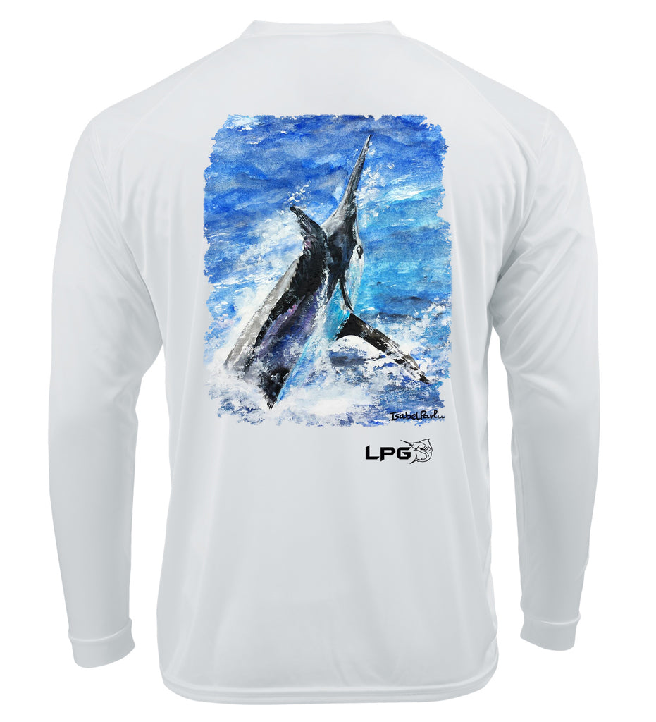 LPG Apparel Co. Grander Marlin Isabel Paula Srt long SLeeve T-Shrt, Marlin Fishing T-Shirt, Marlin T-Shirt, Fishing T-Shirt, Fishermen T-Shirt, UPF50 T-Shirt, Sun Protection T-Shirt, Lobo Lures T-Shirt