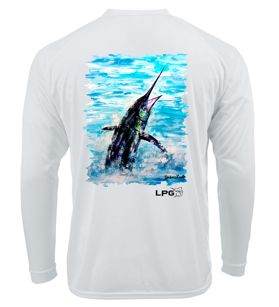 LPG Apparel Co. Pacific Fly Marlin Isabel Paula Srt long SLeeve T-Shrt, Marlin Fishing T-Shirt, Marlin T-Shirt, Fishing T-Shirt, Fishermen T-Shirt, UPF50 T-Shirt, Sun Protection T-Shirt, Lobo Lures T-Shirt