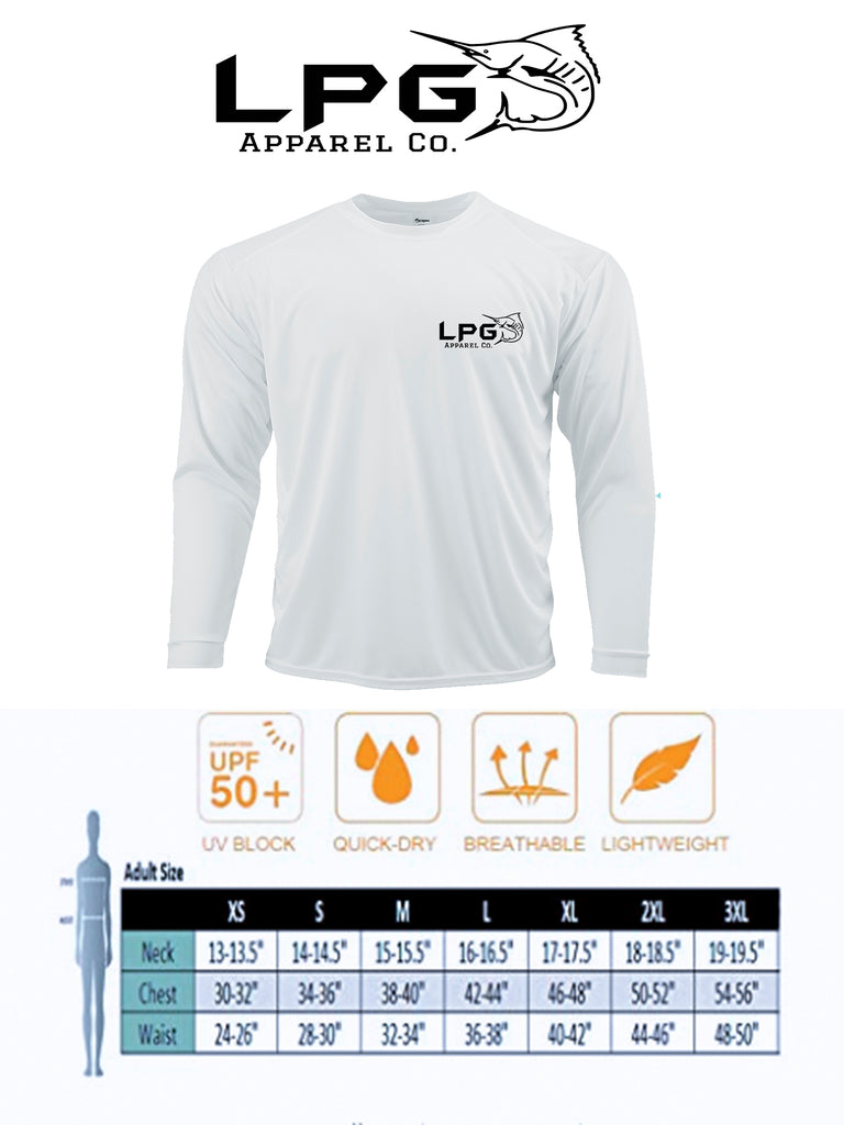 LPG Apparel Co® Tag & Release USA Flag Edition Long Sleeve Performance UPF 50+ T-Shirt, American T-Shirt, Fishing Tee, Sizing Chart, Lobo Lures t-shirt