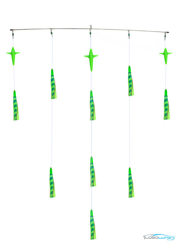 "Lobo Lures 36"" Tuna Bullet Head Lumo GLOW Spreader Bar, Tuna Fishing, Tuna Spreader Bar, Side Tracker"