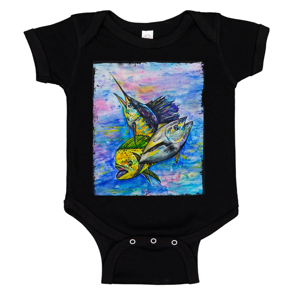 lobo-sportfishing - LPG Apparel Co. Mahi Tuna Marlin Mixed Bag Fishing Baby Bodysuit - LPG Apparel Co. - Onesie