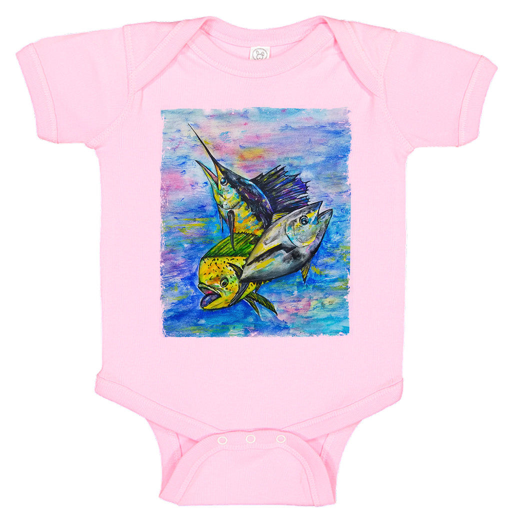 LPG Apparel Co. Mahi Tuna Marlin Mixed Bag Fishing Baby Bodysuit, Lobo Lures Onesie, Lobo Lures Fishing Apparel, Fishing onesie, Baby Fishermen, Baby onesies for fishing, Offshore fishing onesie, sailfish onesie, tuna onesie, mahi-mahi onesie, coastal onesie