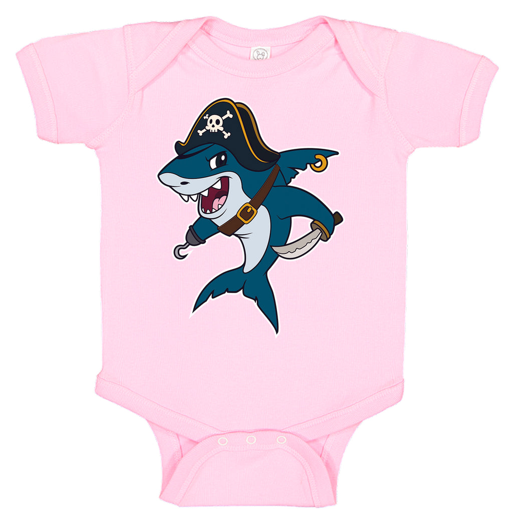 LPG Apparel Co. Pirate Great White Shark Fishing Cotton Baby Bodysuit Bass Fishing Baby Onesie, lobo Lures onesie, Ink Trendz Onesies, Fishing onesies, Montauk Onesies, Coastal Onesies, Fishing Baby Onesies, Baby girls onesie, Baby girls Fishing Onesie, Shark Onesie, Pirate onesie, Baby Shark