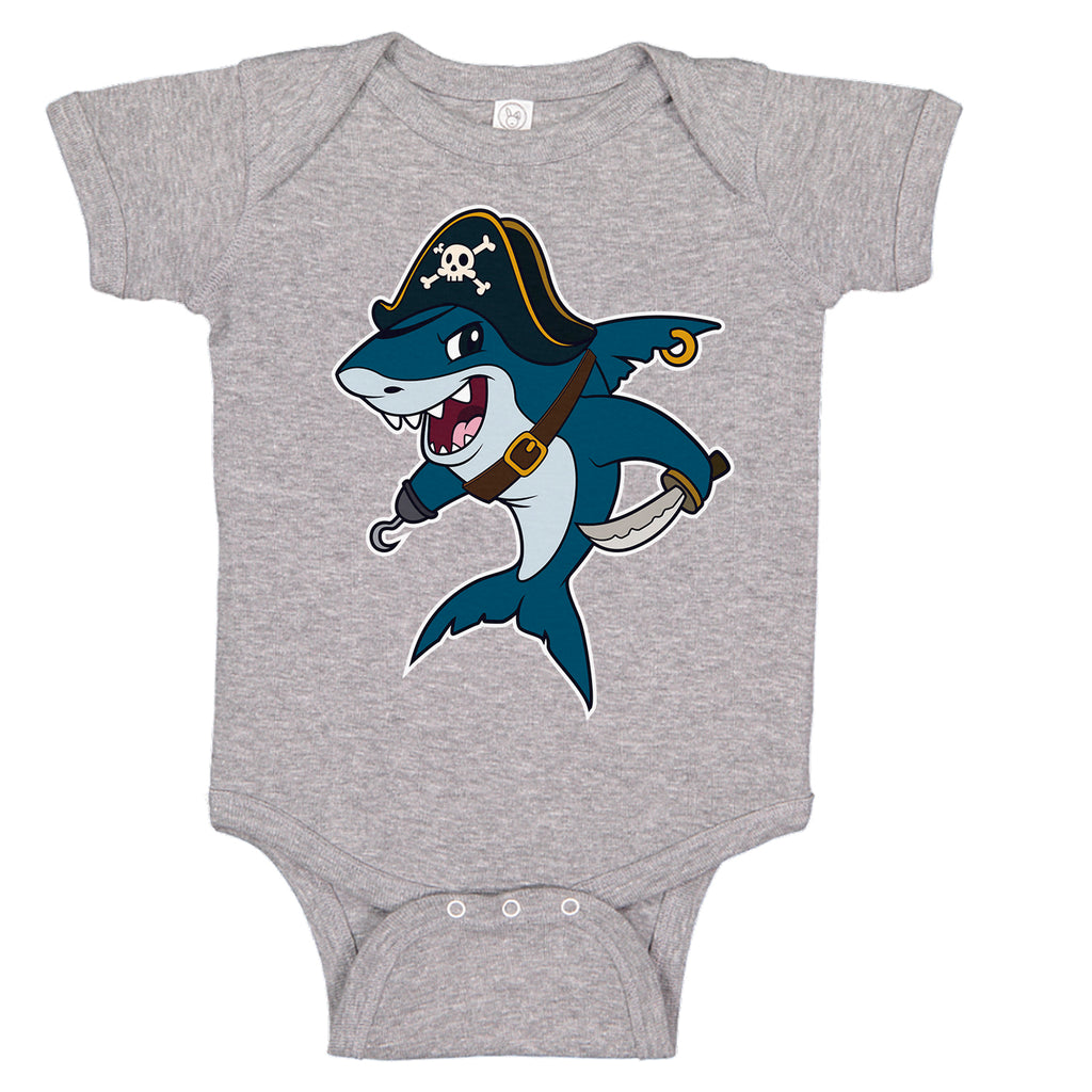 LPG Apparel Co. Pirate Great White Shark Baby One-piece Romper Baby Onesie, Fishing Baby Onesie, Baby Fishing Onesie, Fishing Baby Bodysuit