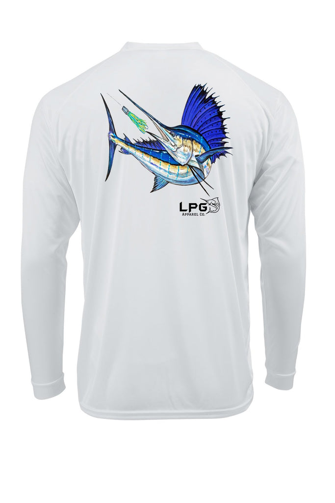 LPG Apparel Co. Mark Ray Sailfish Hunt Long Sleeve Performance UPF 50+ T-Shirt Fishing Tee, Fishing T-shirt, Sailfish T-Shirt, Offshore Fishing T-Shirt