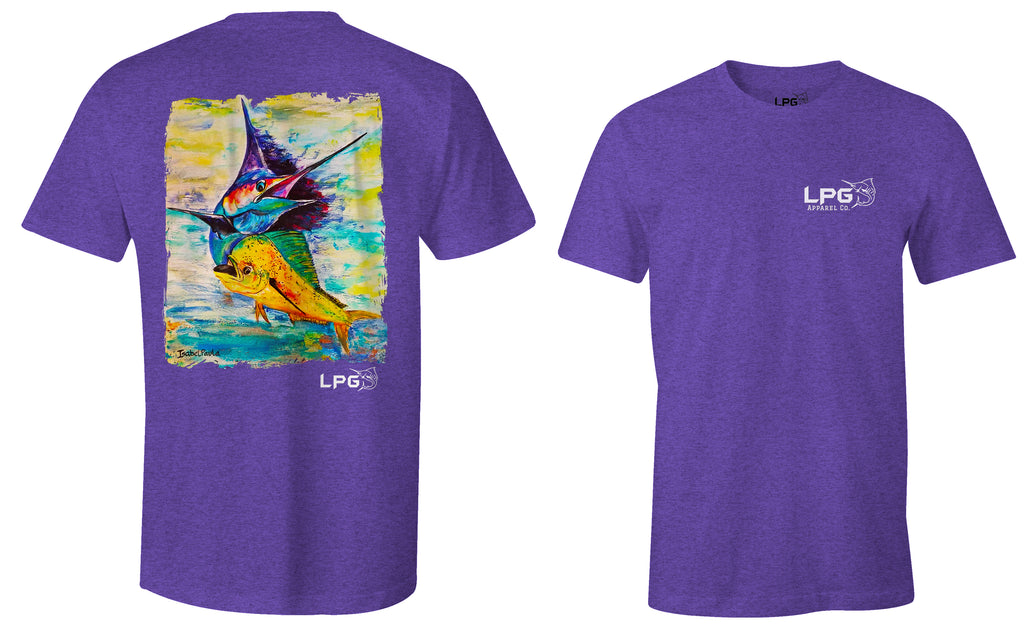 lobo-sportfishing - LPG Apparel Co. Sailfish  Mahi Combo Big Game Fishing Cotton T-shirt - Lobo Lures -