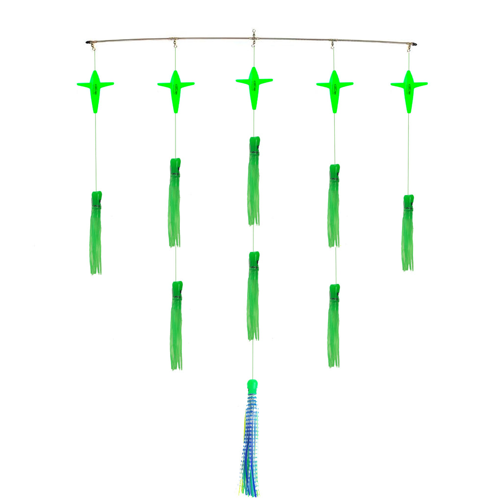 "lobo-sportfishing - Lobo Lures 36"" Skipjack UV Hybrid Green Machine Splash Spreader Bar - Lobo Lures - Spreader Bars"