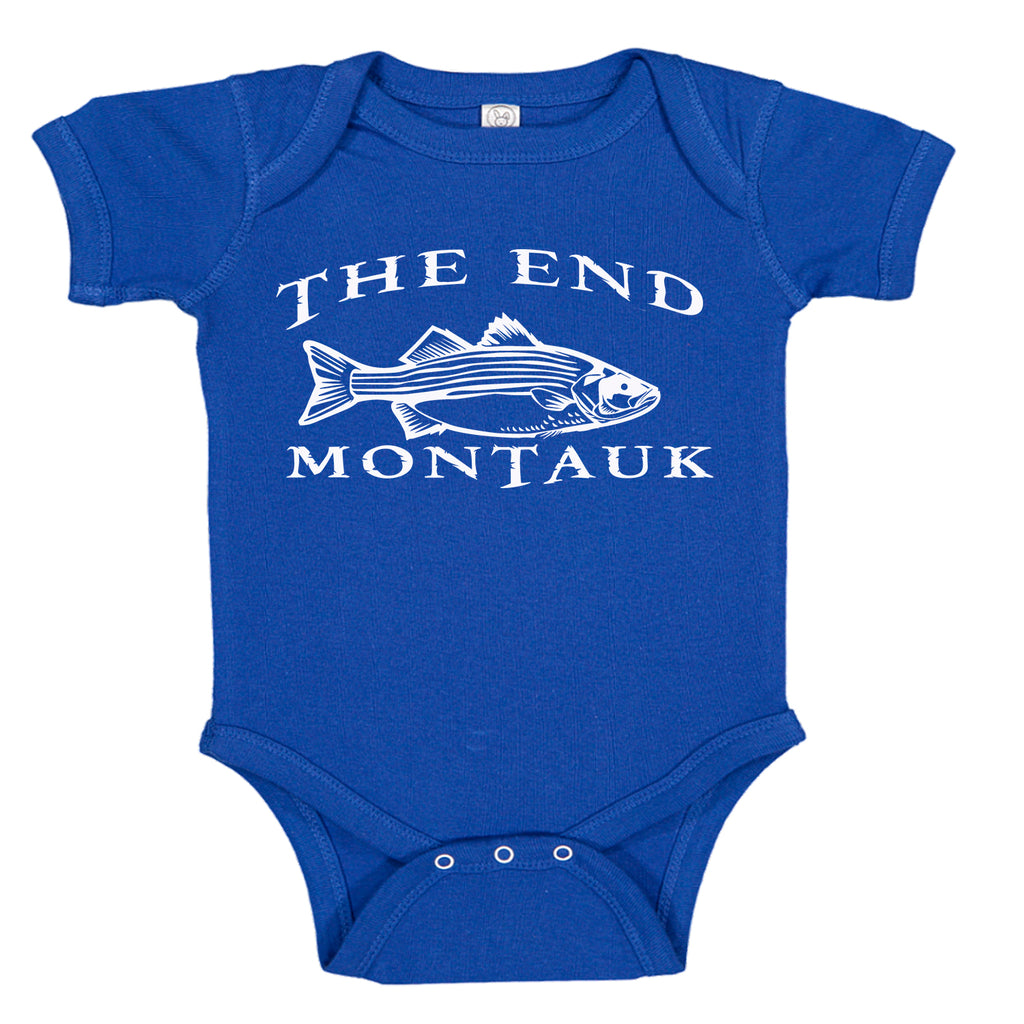 LPG Apparel Co. THE END MONTAUK Bass Fishing Cotton Baby Body Suit