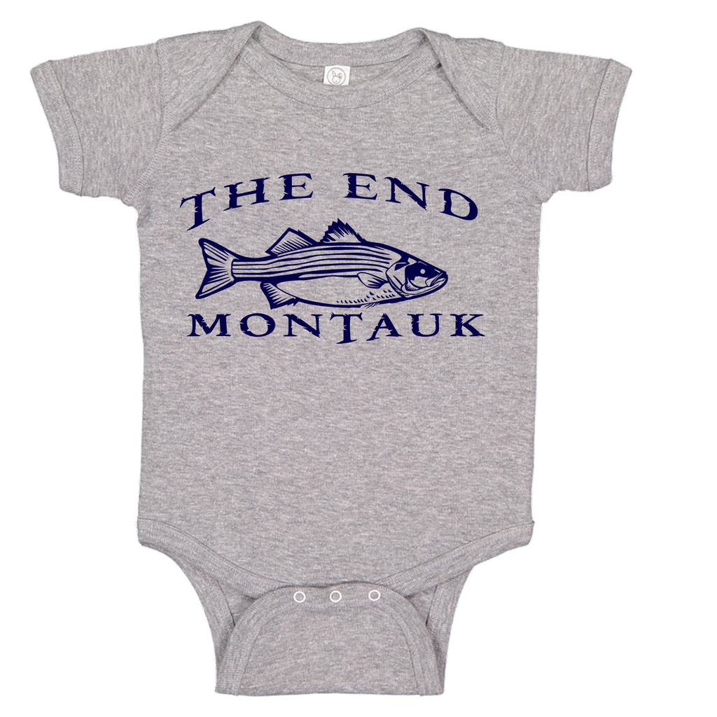 LPG Apparel Co. THE END MONTAUK Bass Fishing Cotton Baby Bodysuit Bass Fishing Baby Onesie, lobo Lures onesie, Ink Trendz Onesies, Fishing onesies, Montauk Onesies, Coastal Onesies, Fishing Baby Onesies